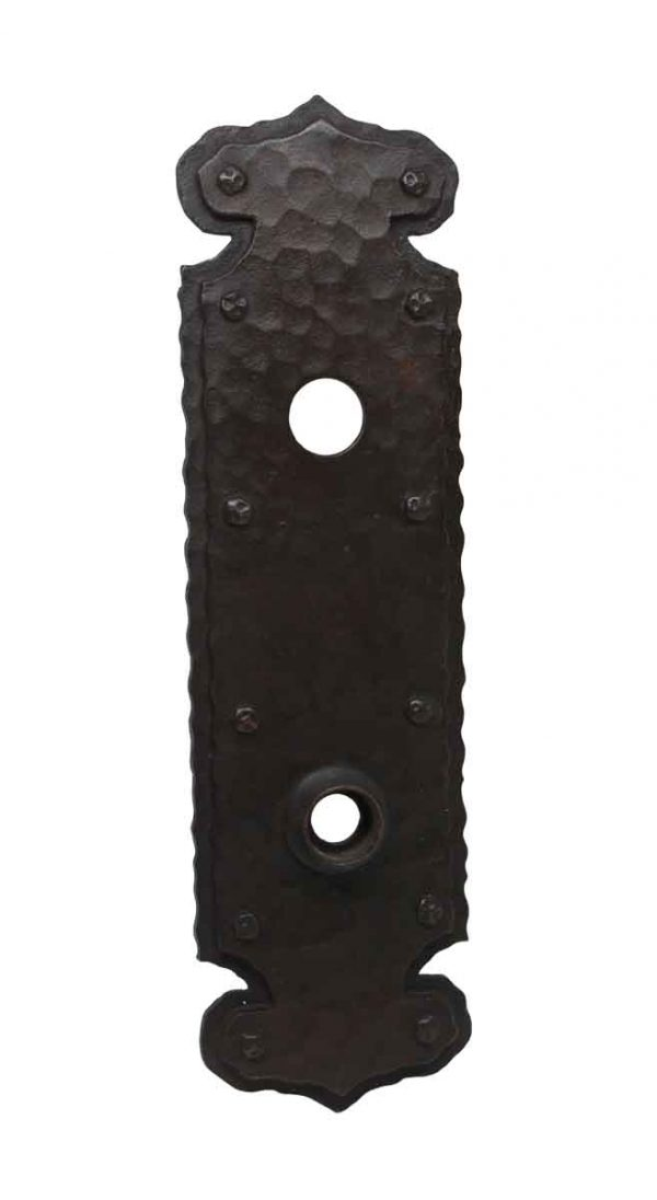 Back Plates - Hammered Bronze Antique Door Back Plate with a Dark Patina