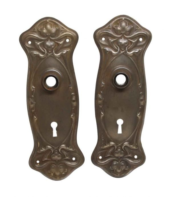 Back Plates - Pair of Brass Plated Steel Art Nouveau Door Back Plates