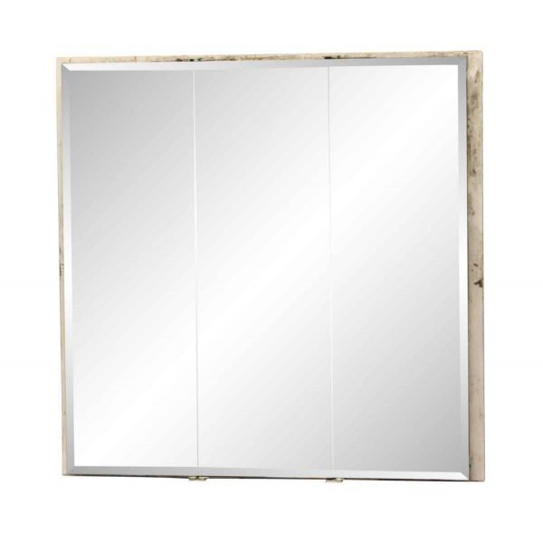 Bathroom - Metal 3 Section Medicine Cabinet with Beveled Glass