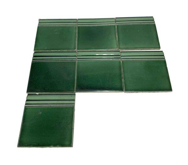 Bull Nose & Cap Tiles - 6 x 6 Green Baseboard Wall Tile Set