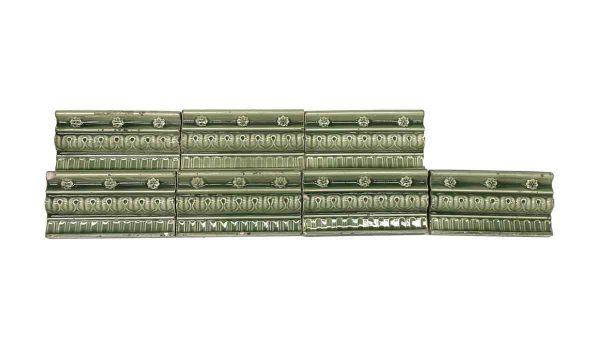 Bull Nose & Cap Tiles - Muted Green Floral Edge Tile Set