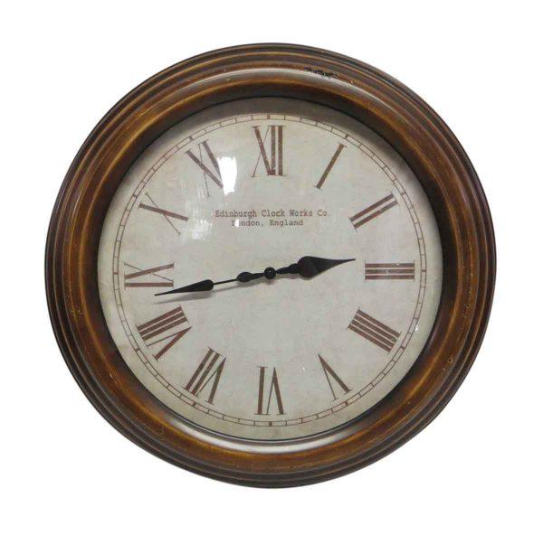 Clocks  - Brown Plastic Repro Edinburgh Clock Work Co. Wall Clock