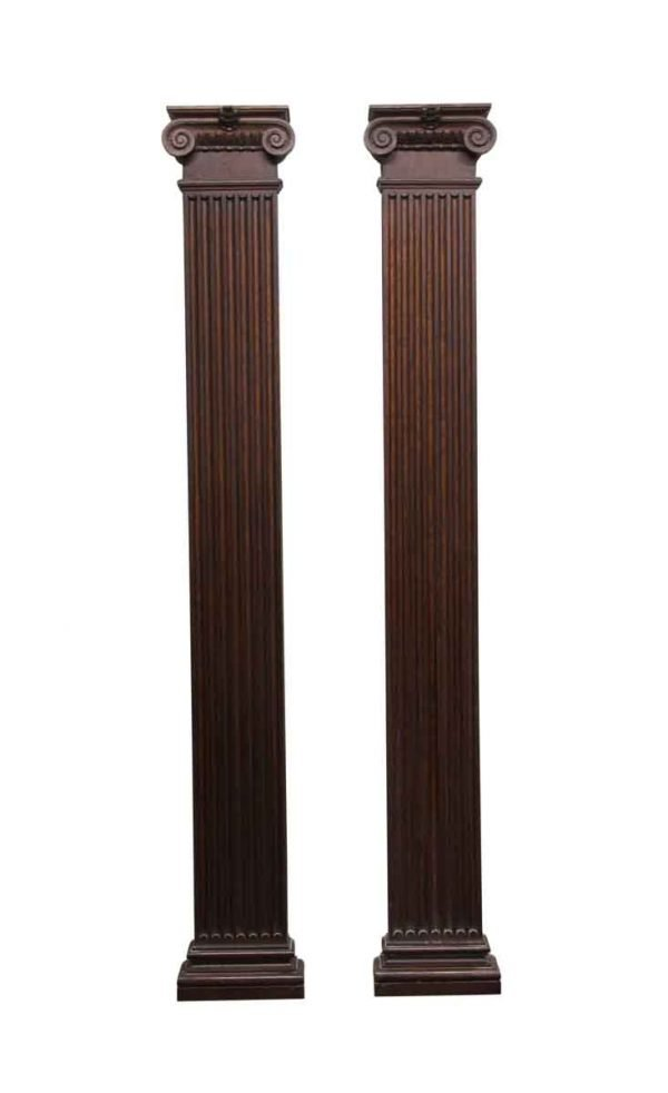 Columns & Pilasters - Pair of 8 ft Hand Craved Oak Pilasters