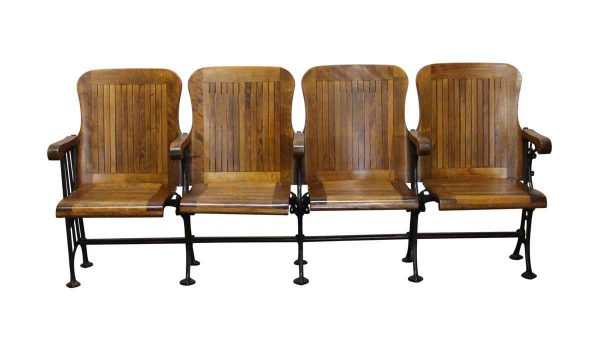 Commercial Furniture - 4 Seater Folding Theater Chairs with Cast Iron Frame