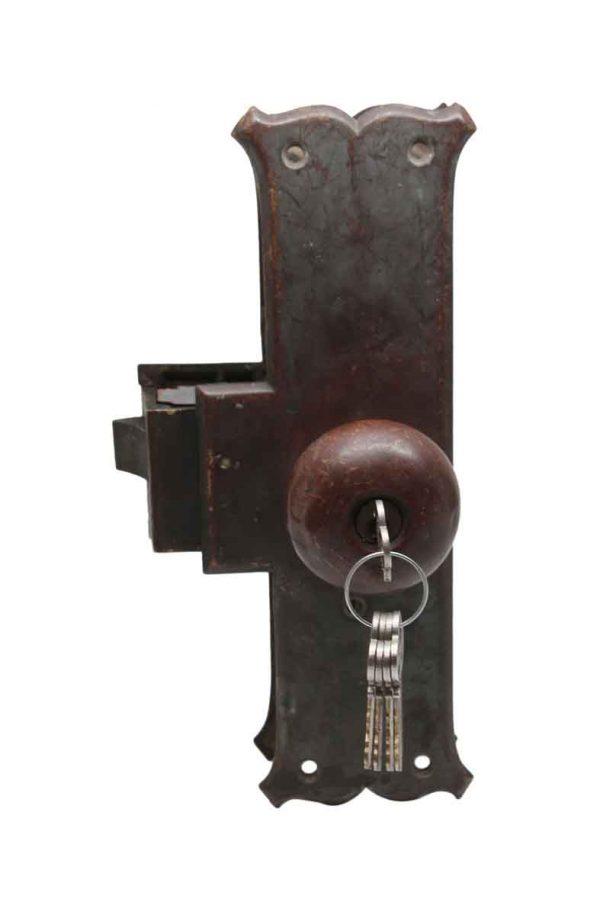 Door Knob Sets - Antique Cast Bronze Unit Lock with Keys