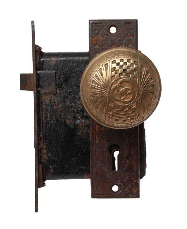 Door Knob Sets - Mallory Wheeler Brass Door Knob Set with Plates & Lock