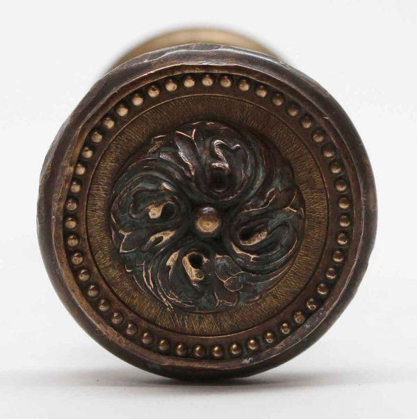 Door Knobs - Pair of Brass Beaded Floral Door Knobs