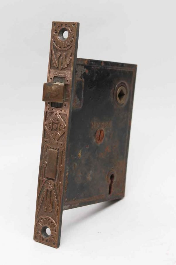 Door Locks - Mallory Wheeler Cast Iron Mortise Lock with Ornate Brass Faceplate