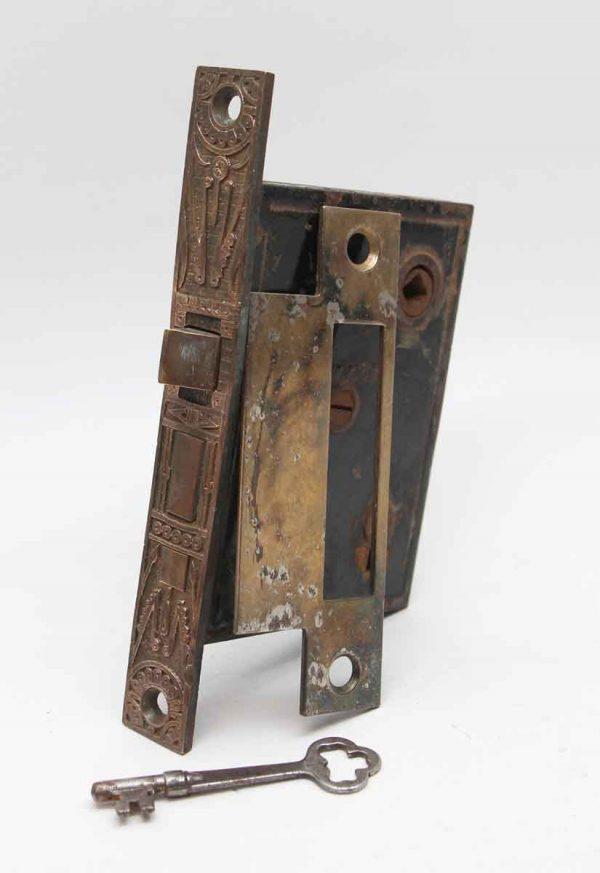 Door Locks - Mallory Wheeler Ornate Mortise Lock with Brass Ornate Faceplate