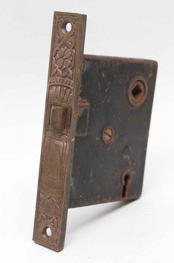 Door Locks - Ornate Cast Iron Mortise Lock with Decorative Brass Face
