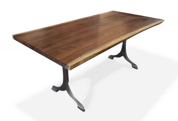 Farm Tables - Live Edge Walnut Table with Brushed Steel Legs