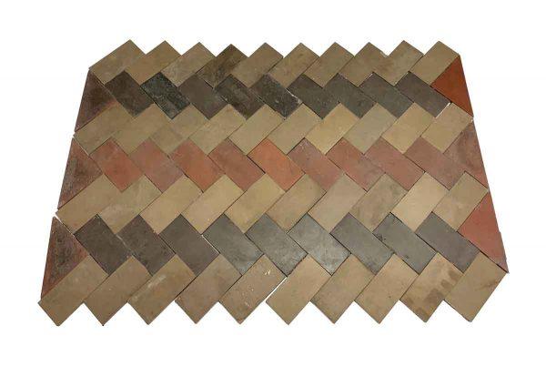 Floor Tiles - Herringbone Matted Brown Tan & Burgundy Floor Tile Set