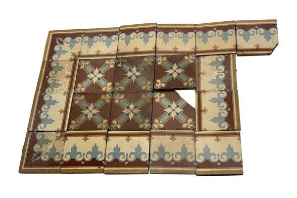 Floor Tiles - Red & Blue Stone Floor Tile Set
