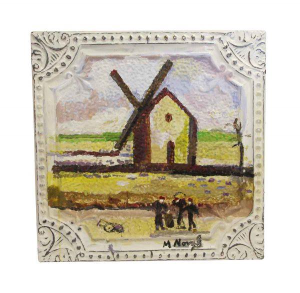 Hand Painted Panels - Mladen Novak Acrylic Windmill Painting Tin Panel