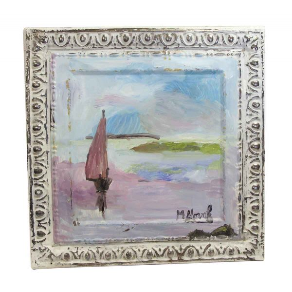 Hand Painted Panels - Mladen Novak Pastel Sailboat Tin Panel