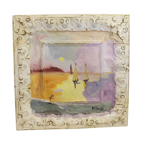 Hand Painted Panels - Mladen Novak Scenic Sail Boat Tin Panel Painting