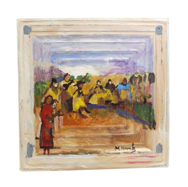 Hand Painted Panels - Mladen Novak Tin Panel Painting of People Playing Music