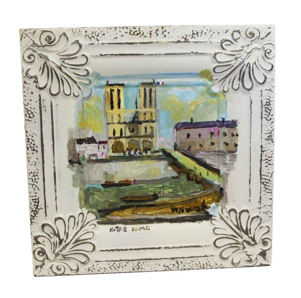 Hand Painted Panels - Notre Dame Cathedral Acrylic Tin Painting by Mladen Novak