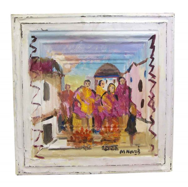 Hand Painted Panels - Pastel Portrait of People in the Village by Mladen Novak