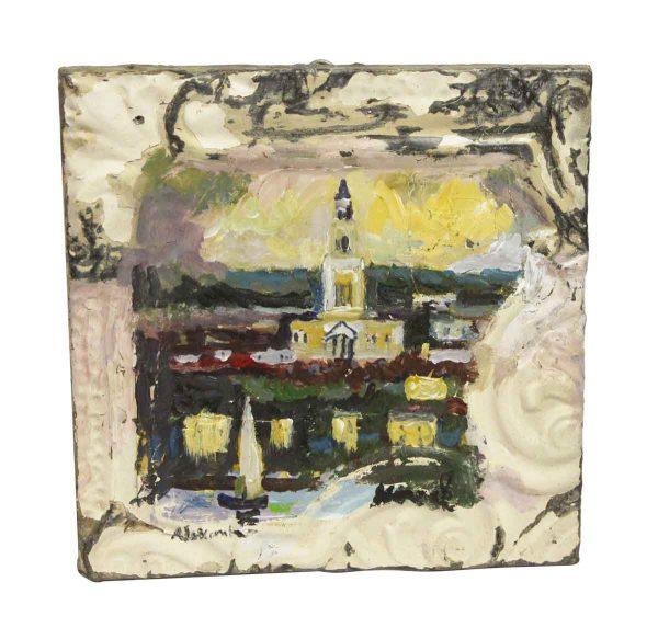 Hand Painted Panels - Small Mladen Novak Scenic Village Tin Panel Painting