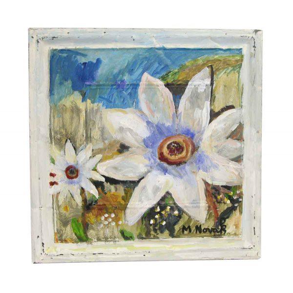 Hand Painted Panels - White Flower Mladen Novak Panel