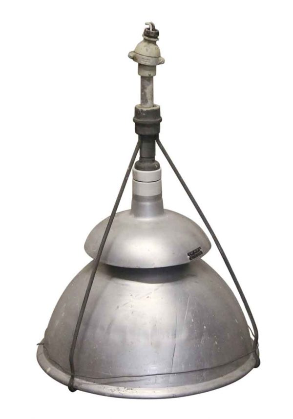 Industrial & Commercial - 1940s Industrial Holophane Pendant Light with Aluminum Shield