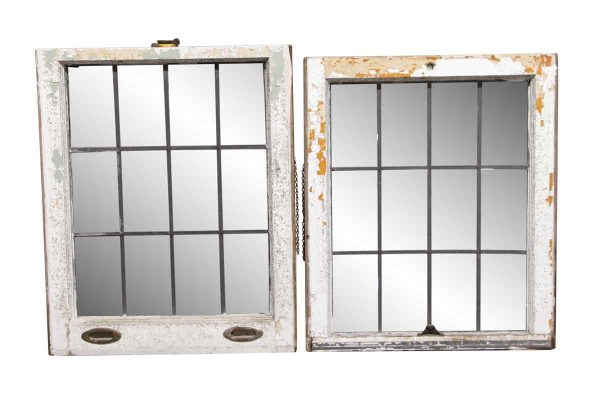 Leaded Glass - 55.75 in. H Pair of Double Hung Windows with Leaded Glass