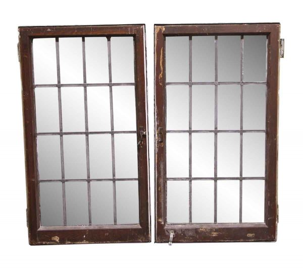 Leaded Glass - Pair of 40.5 x 45.5 Exterior Hinged Leaded Windows