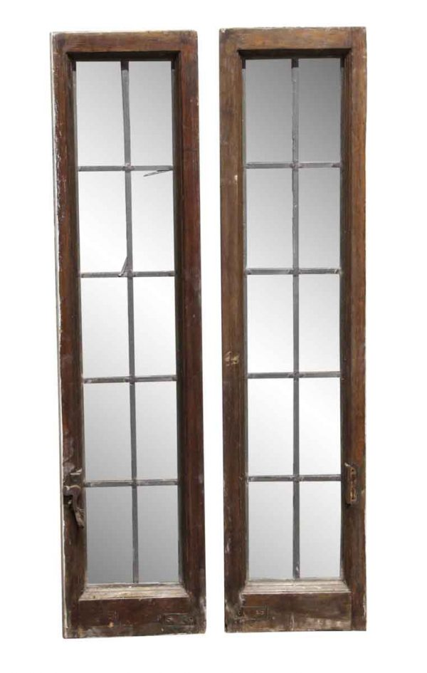 Leaded Glass - Pair of 42 x 19.5 Hinged Leaded Windows