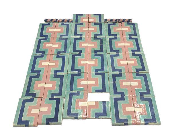 Mixed Tile Sets  - Blue Teal & Pink Vintage Tile Set