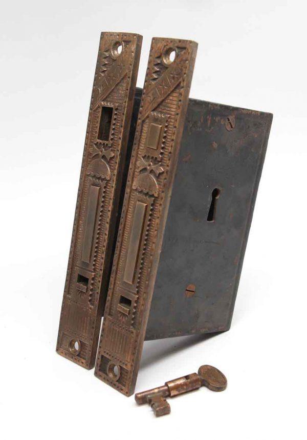 Pocket Door Hardware - Cast Iron Pocket Door Lock Set with Brass Faceplate & Key