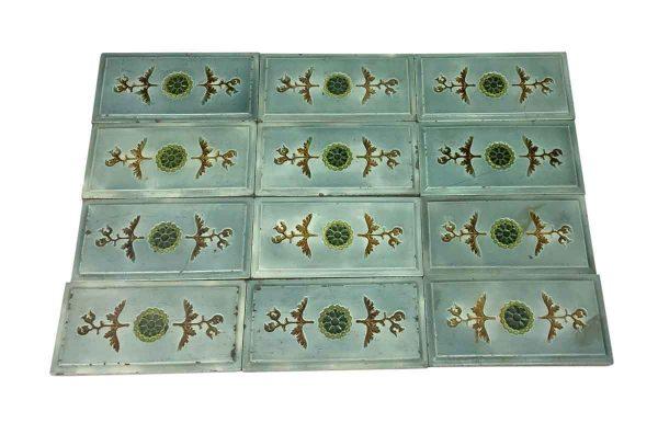 Wall Tiles - Antique 9 x 4.5 Blue & Brown Beveled Tile Set