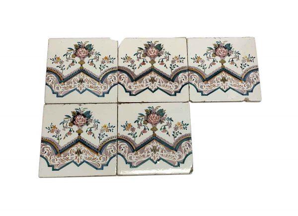Wall Tiles - Antique White Tile Set with Floral Design