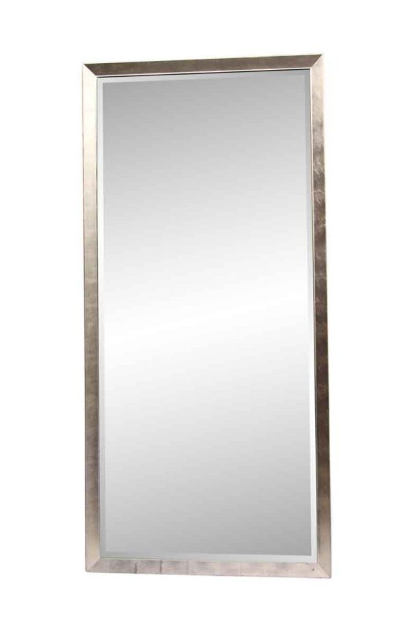 Antique Mirrors - 9 Foot Tall Beveled Mirror with Silvered Leaf Frame
