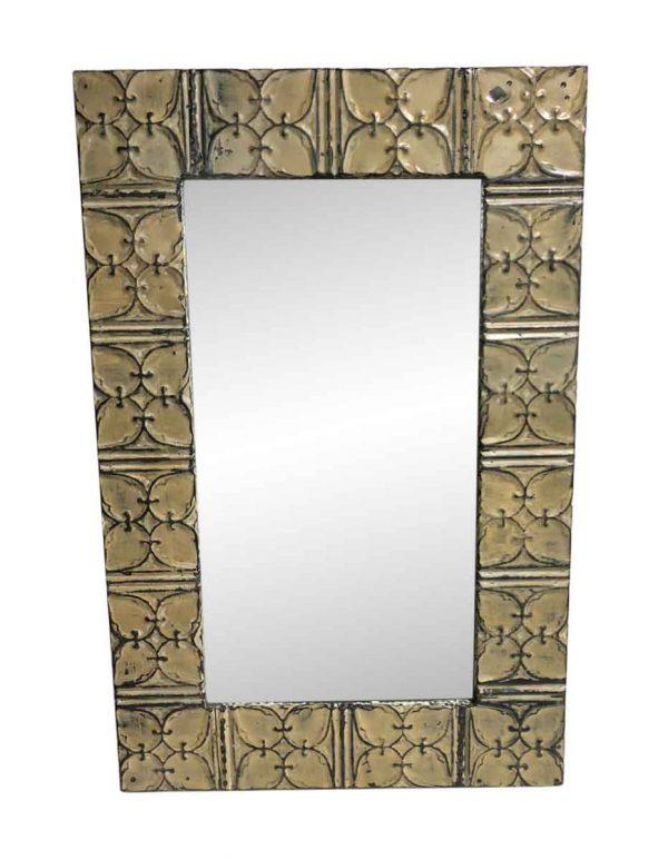 Antique Tin Mirrors - Antique Tan Ivy Clover Tin Mirror