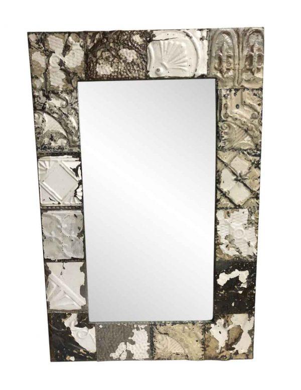 Antique Tin Mirrors - Antique Tin Mirror with Neutral Tone Mixed Patterns
