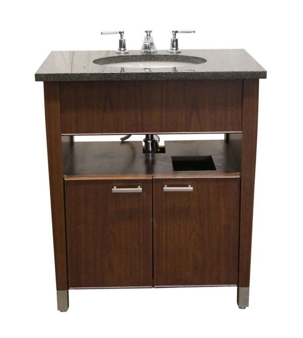 Bathroom - Kohler Black Granite Top & Walnut Bathroom Vanity with Sink