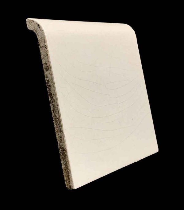 Bull Nose & Cap Tiles - 5.825 in. Square Plain Off White Base Cap Tile