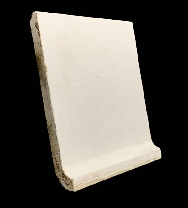 Bull Nose & Cap Tiles - 5.875 in. Square Off White Crackled Base Cap Tile