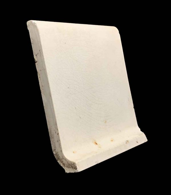Bull Nose & Cap Tiles - 6 in. Square Round Top White Baseboard Tile