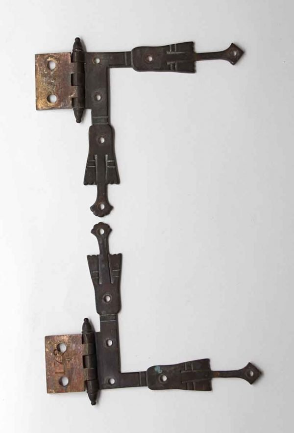 Cabinet & Furniture Hinges - Hand Etched Brass L Shaped Strap Corner Cabinet Hinges