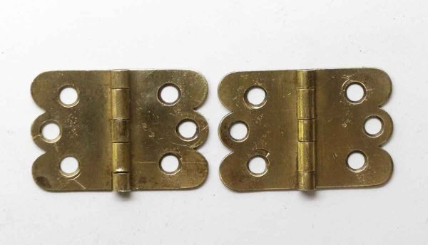 Cabinet & Furniture Hinges - Pair of Brass 1.25 in. H Butterfly Surface Cabinet Hinges