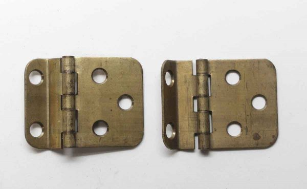 Cabinet & Furniture Hinges - Pair of Brass Classic Face Mount Offset Cabinet Hinges