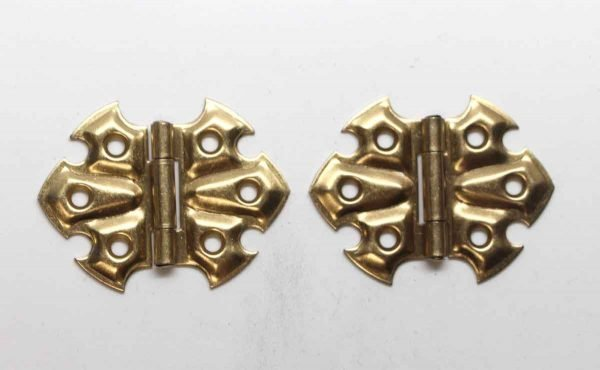 Cabinet & Furniture Hinges - Pair of Brass Plated Steel Stanley Butterfly Cabinet Hinges