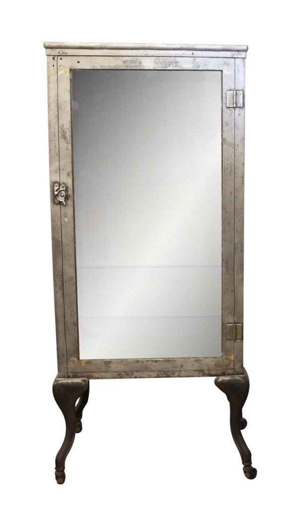 Cabinets - Designer Steel Dental Cabinet with Cabriole Legs & Glass Shelves