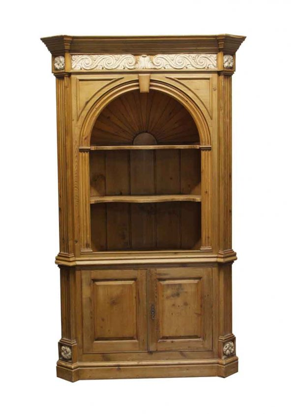 Cabinets - Knotty Pine Alcove Cabinet with Carved Details
