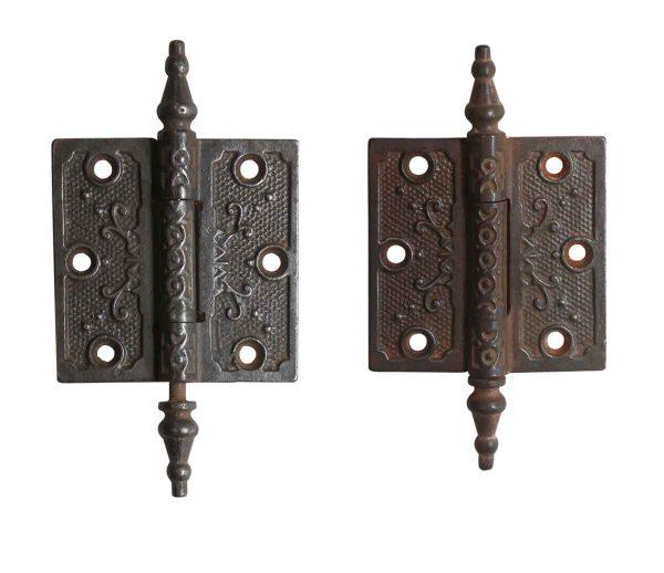 Door Hinges - Antique Iron Victorian 3 x 3 Butt Hinges with Steeple Tips