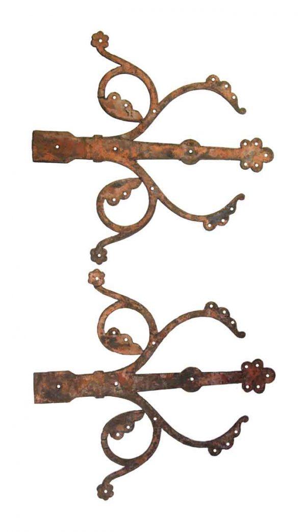 Door Hinges - Hand Hammered Wrought Iron Gothic Dummy Strap Door Hinge