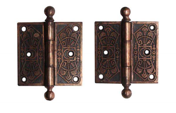 Door Hinges - Pair of 3.5 x 3.5 Brass Plated Steel Butt Door Hinges