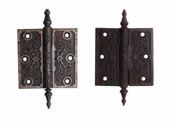 Door Hinges - Pair of 3.5 x 3.5 Cast Iron Steeple Tip Butt Door Hinges